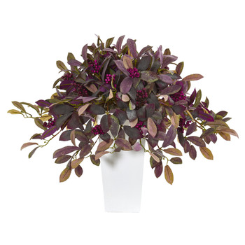23 Fall Laurel Leaf with Berries Artificial Plant in White Planter - SKU #P1144