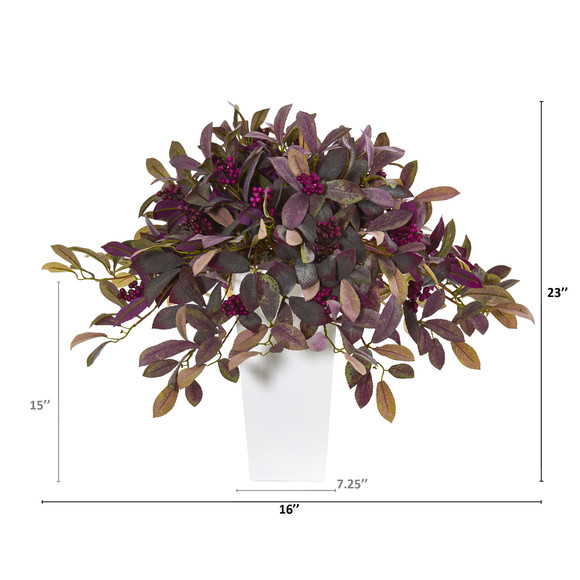23 Fall Laurel Leaf with Berries Artificial Plant in White Planter - SKU #P1144 - 1