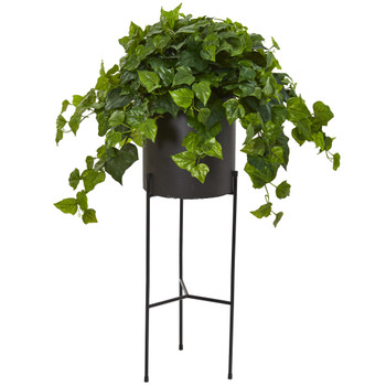 49 London Ivy Artificial Plant in Black Planter with Stand Real Touch - SKU #P1145