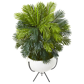 45 Areca Palm Artificial Plant in White Planter with Metal Stand - SKU #P1146