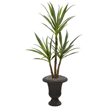 53 Triple Yucca Artificial Plant in Charcoal Urn - SKU #P1148