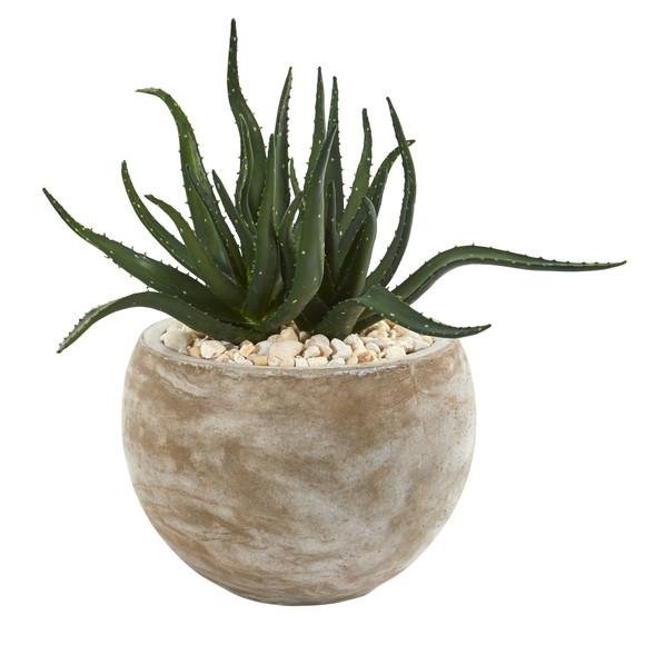 17 Aloe Succulent Artificial Plant in Sand Colored Planter - SKU #P1149