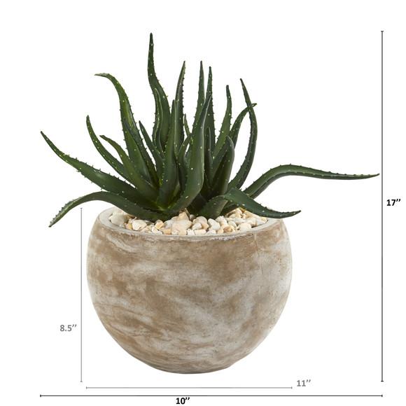 17 Aloe Succulent Artificial Plant in Sand Colored Planter - SKU #P1149 - 1