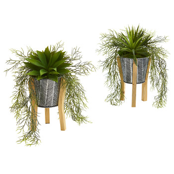 11 Agave Succulent Artificial Plant in Tin Planter with Legs Set of 2 - SKU #P1150-S2