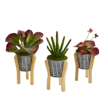 12 Succulent Artificial Plant in Tin Planter with Legs Set of 3 - SKU #P1151-S3