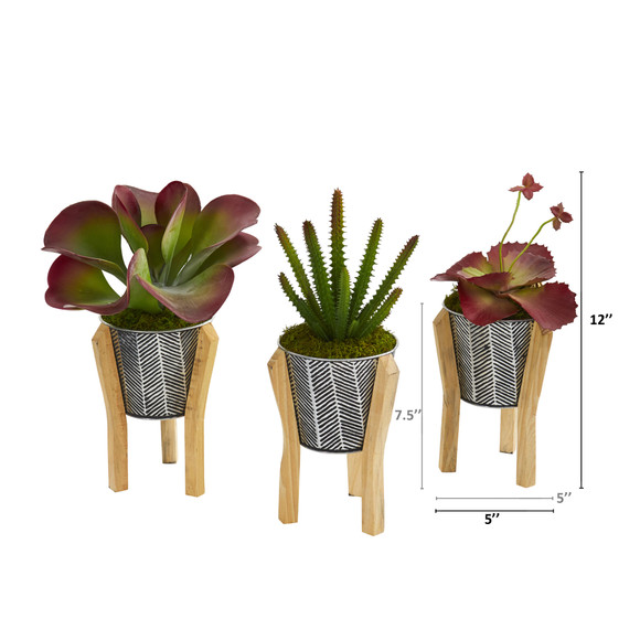 12 Succulent Artificial Plant in Tin Planter with Legs Set of 3 - SKU #P1151-S3 - 1