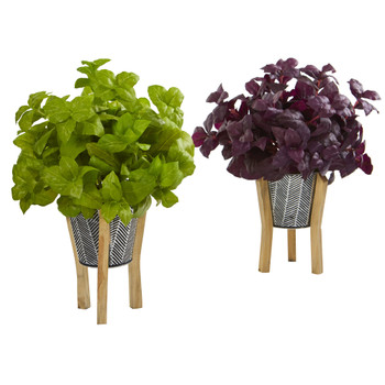 12 Basil Artificial Plant in Tin Planter with Legs Set of 2 - SKU #P1152-S2