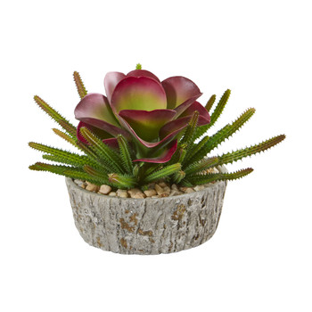 9 Mixed Succulent Artificial Plant in Weathered Oak Planter - SKU #P1155
