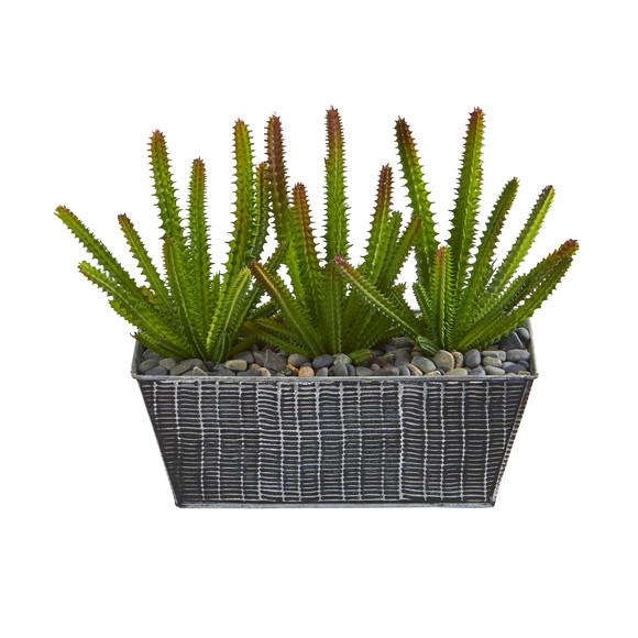 10 Cactus Succulent Artificial Plant in Embossed Tin Planter - SKU #P1157