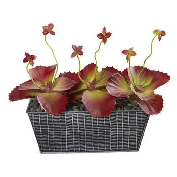 10 Succulent Artificial Plant in Embossed Tin Planter - SKU #P1158
