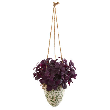 26 Basil Artificial Plant in Hanging Vase - SKU #P1159