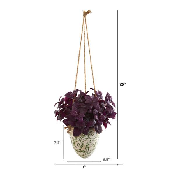 26 Basil Artificial Plant in Hanging Vase - SKU #P1159 - 1