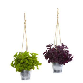 23 Basil Artificial Plant in Hanging Bucket Set of 2 - SKU #P1160-S2