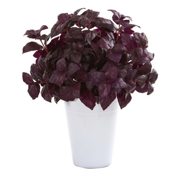 14 Basil Artificial Plant in White Planter - SKU #P1162