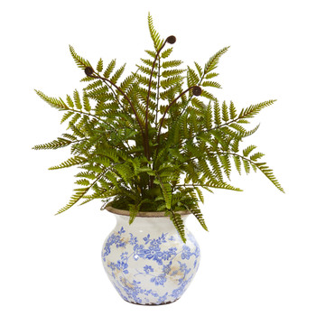 17 Fern Artificial Plant in Floral Planter - SKU #P1163