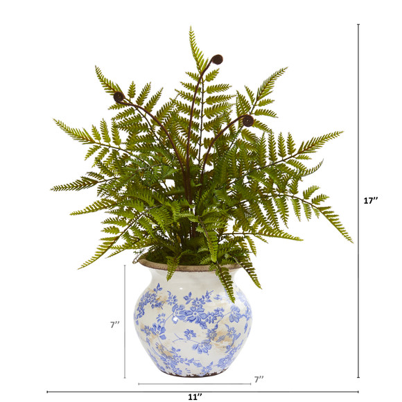 17 Fern Artificial Plant in Floral Planter - SKU #P1163 - 1