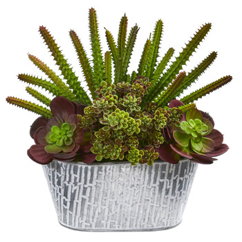 11 Echeveria and Cactus Artificial Plant in White Tin Planter - SKU #P1169