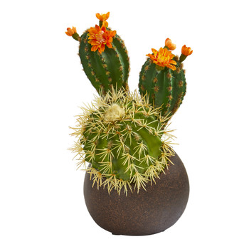 11 Cactus Succulent Artificial Plant in Stone Planter - SKU #P1176