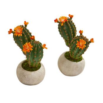 9 Flowering Cactus Succulent Artificial Plant in Stone Planter Set of 2 - SKU #P1178-S2