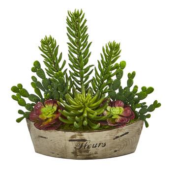 22 Echeveria and Cactus Succulent Artificial Plant in Decorative Planter - SKU #P1185