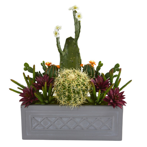 26 Mixed Cactus Succulent Artificial Plant in Stone Planter - SKU #P1187