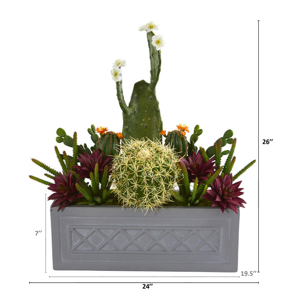 26 Mixed Cactus Succulent Artificial Plant in Stone Planter - SKU #P1187 - 1