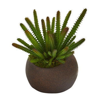 9 Cactus Succulent Artificial Plant in Stone Planter - SKU #P1189