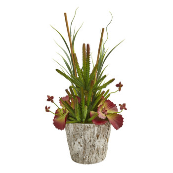 21 Succulent and Grass Artificial Plant in Weathered Oak Planter - SKU #P1195