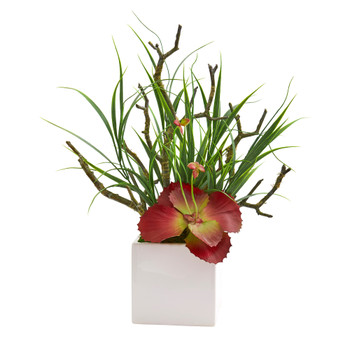 17 Succulent and Grass Artificial Plant in White Planter - SKU #P1196