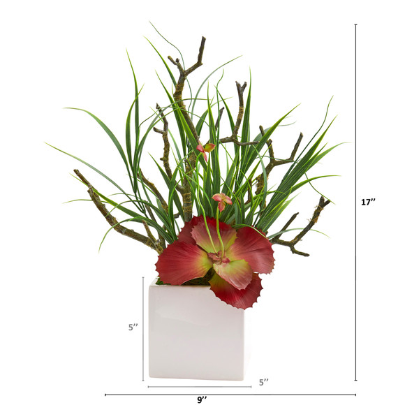 17 Succulent and Grass Artificial Plant in White Planter - SKU #P1196 - 1