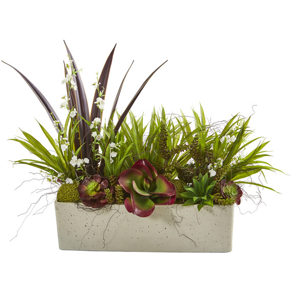 32 Mixed Succulent and Grass Garden Artificial Plant in White Planter - SKU #P1198