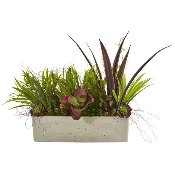 32 Mixed Succulent and Grass Garden Artificial Plant in White Planter - SKU #P1198 - 2