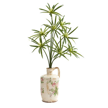 27 Cyperus Artificial Plant in Floral Pitcher - SKU #P1199