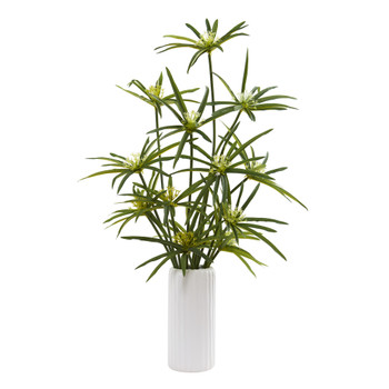 24 Cyperus Artificial Plant in White Planter - SKU #P1200