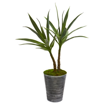 38 Double Yucca Artificial Plant in Decorative Tin Planter - SKU #P1201