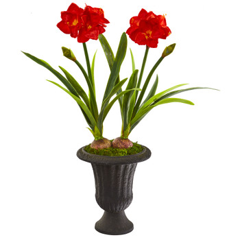49 Double Amaryllis Artificial Plant in Charcoal Urn - SKU #P1203