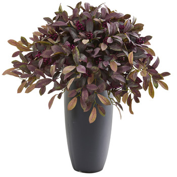 35 Fall Laurel with Berries Artificial Plant in Gray Planter - SKU #P1207