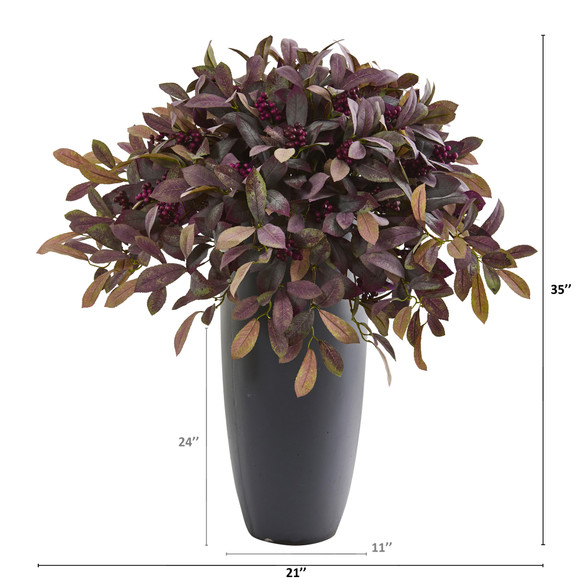 35 Fall Laurel with Berries Artificial Plant in Gray Planter - SKU #P1207 - 1