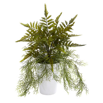 13 Fern and Tillandsia Moss Artificial Plant in White Planter - SKU #P1208