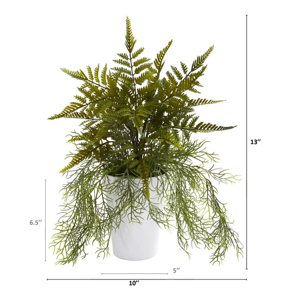 13 Fern and Tillandsia Moss Artificial Plant in White Planter - SKU #P1208 - 1