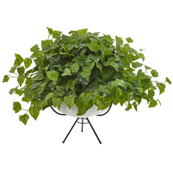 26 London Ivy Artificial Plant in White Planter with Metal Stand Real Touch - SKU #P1209