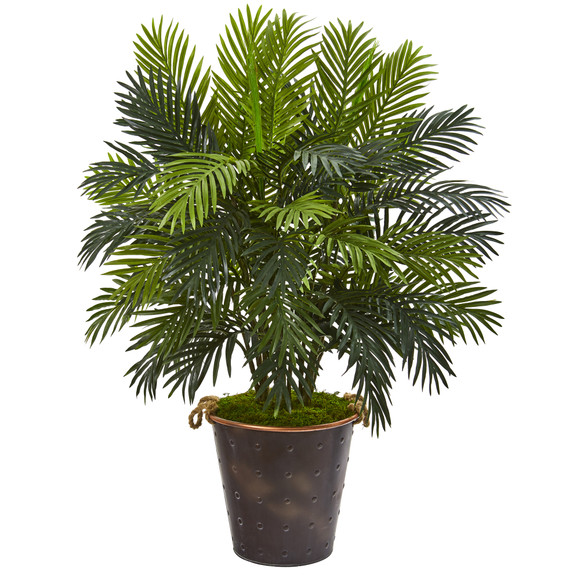 41 Areca Palm Artificial Plant in Decorative Metal Pail with Rope - SKU #P1211