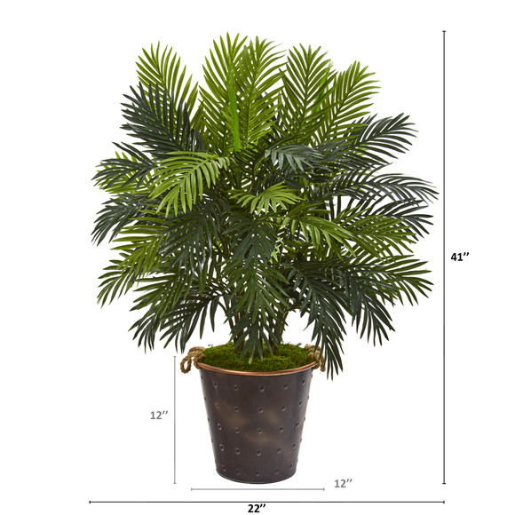 41 Areca Palm Artificial Plant in Decorative Metal Pail with Rope - SKU #P1211 - 1