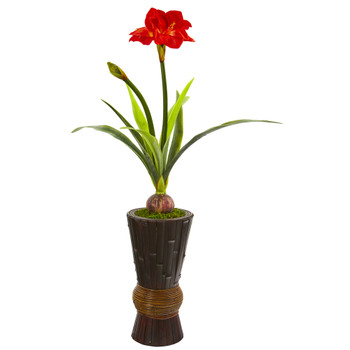 44 Amaryllis Artificial Plant in Decorative Planter - SKU #P1212