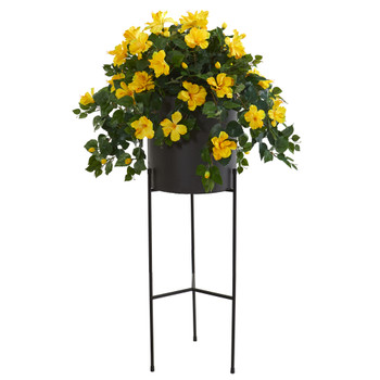50 Hibiscus Artificial Plant in Black Planter with Stand - SKU #P1214