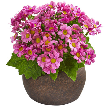 9 Daisy Artificial Plant in Stone Brown Planter - SKU #P1215-MA