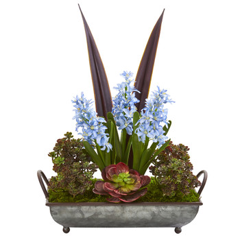 21 Hyacinth and Succulent Artificial Plant in Metal Tray - SKU #P1223