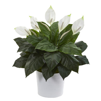 33 Spathiphyllum Artificial Plant in White Planter - SKU #P1226