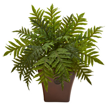 24 Hares Foot Fern Artificial Plant in Brown Planter Real Touch - SKU #P1231