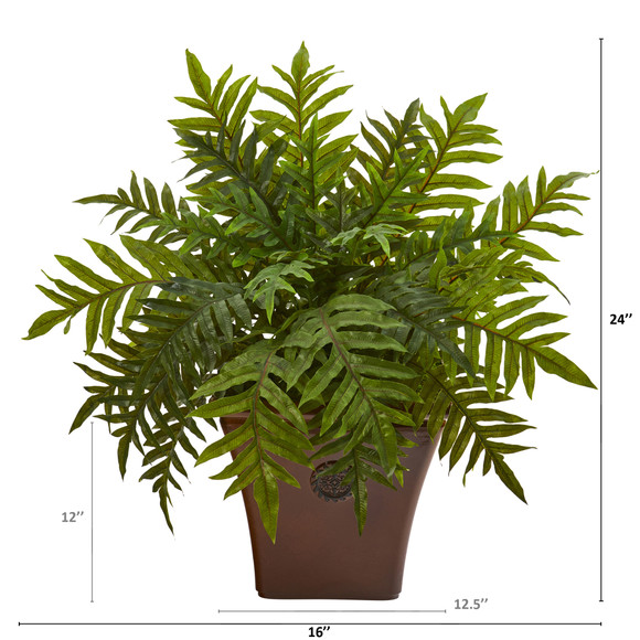 24 Hares Foot Fern Artificial Plant in Brown Planter Real Touch - SKU #P1231 - 1